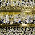 Krystal-Lysekrone - Basket med 9 lys - Guldfinish - Swarovski Krystal