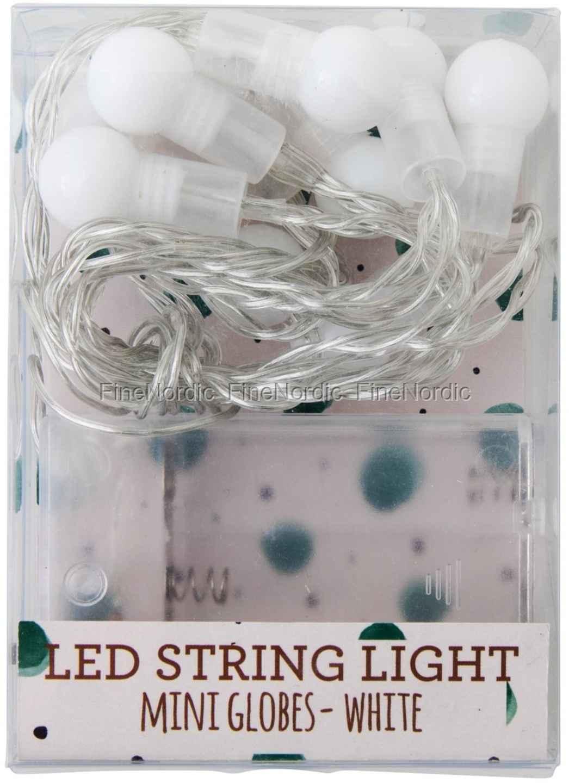 Rice Indendørs Hvid LED Mini Ball Lyskæde - 10 Kugler